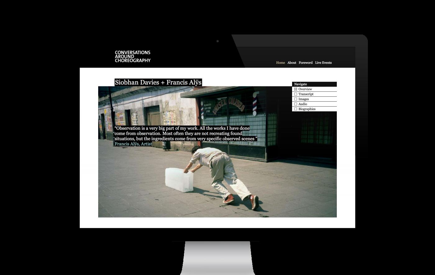 Conversations Around Choreography microsite for Siobhan Davies Dance - www.siobhandavies.com/conversations/